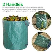 3pcs Yard Reusable Foldable Sacks With Dual Handles Heavy Duty Lawn Debris Leaf Storage Rubbish Refuse Portable Garden Waste Bag