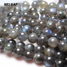 Meihan (1 גדיל/סט) טבעי כיתה + ברדוריט 9.5 10.5mm & 11.5 12.5mm רופפים עגול לתכשיטים ביצוע עיצוב