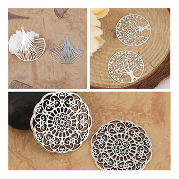 Hot Zinc Based Alloy Connectors For Jewelry DIY Findings Round Silver Color Filigree Charms Handmade Necklace Components , 2 PCs hot 10pcs zinc alloy plating silver plum flower deer