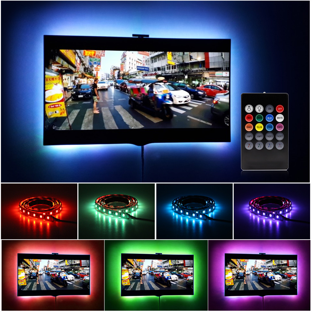 5V USB Powered Led Strip Light TV Backlighting Home Theater Lighting For Flat Screen Television SMD2835 3528 RGB Tape Led Strip