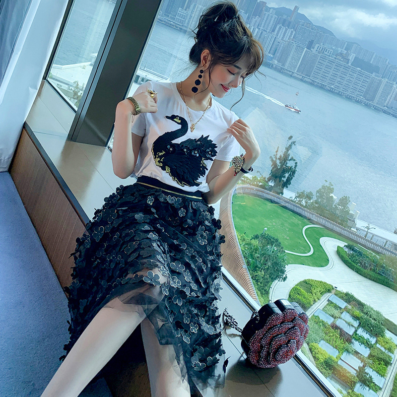 WOMEN'S Dress 2019 Summer Embroidered Sequin Swan Short Sleeve T-shirt + Very Fairy Of Gauze Skirt Set Fashion