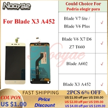 Para ZTE Blade V7 lite V6 más X7 D6 Z7 T660 A602 X3 A452 pantalla LCD pantalla táctil de digitalizador montaje completo de modelado