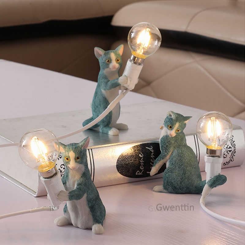 Современные сeletti смолы кошка настольные лампы для спальни Мини Настольная лампа животное настольная Светодиодная лампа светильники домашний декор стоящее освещение