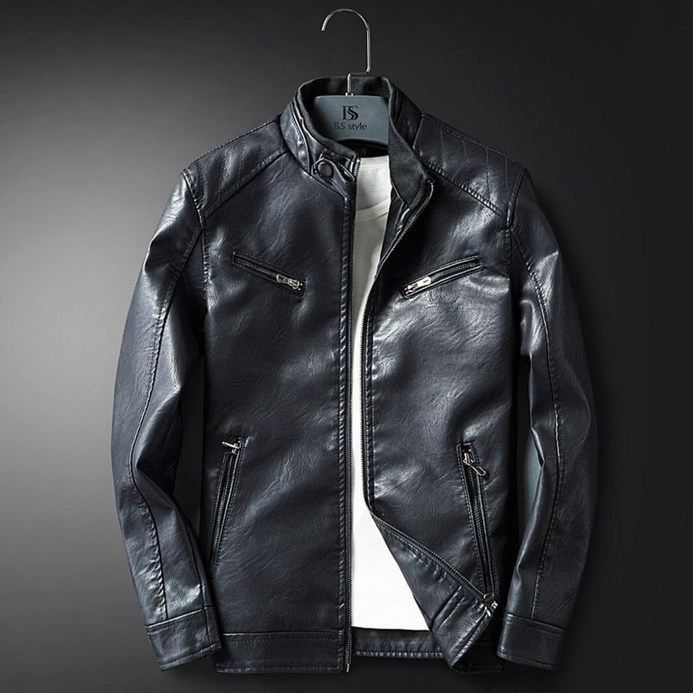 Jacket Coat Motorcycle Winter Casual Male Autumn Black Fur A13 Standing-Collar Men New-Style