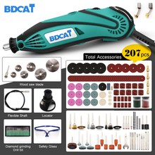 Электрический шлифовальный инструмент BDCAT, 180 Вт, мини дрель, Полировочный инструмент с переменной скоростью, вращающийся инструмент с 207 шт. электроинструментов, Аксессуары Dremel