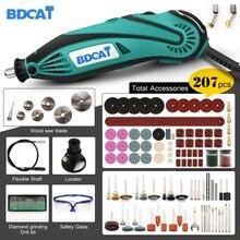 Bdcat mini broca elétrica 180w, ferramenta rotativa de velocidade variável com 207 peças, ferramentas elétricas, acessórios dremel