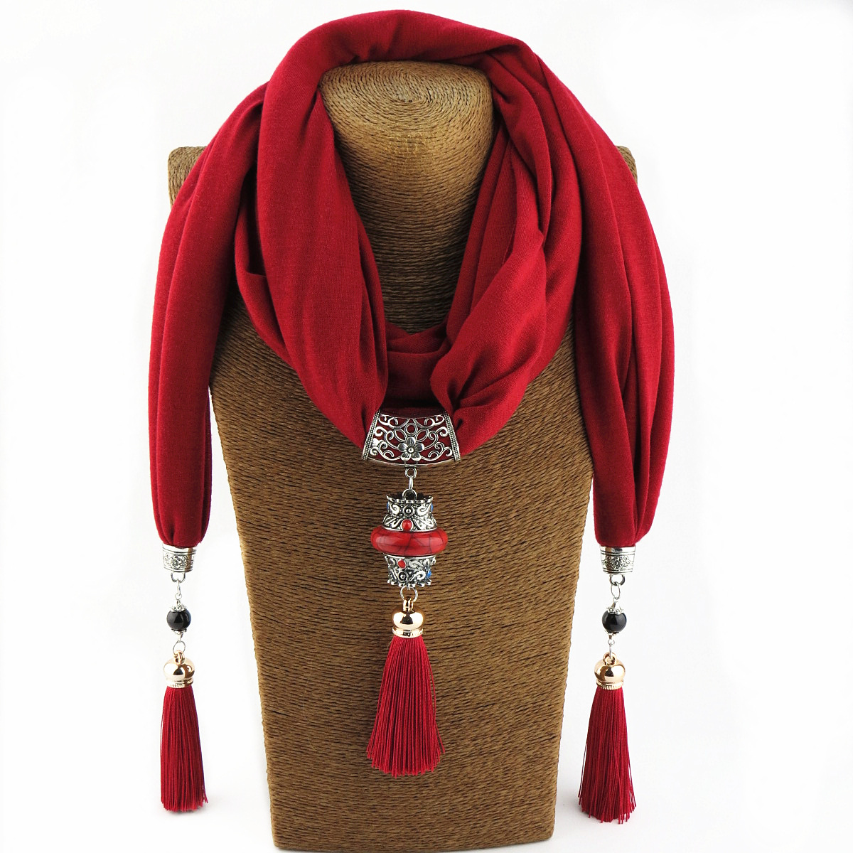 New Style Ceramic Beads Tassels Peacock Pendant Scarf WOMEN'S Shawl Scarf Accessories Necklace Ethnic-Style Scarf