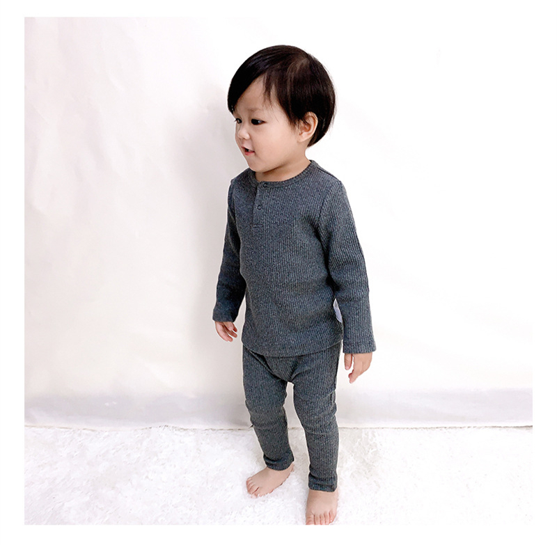 Soft Ribbed Toddler Girl Pajamas For Baby Boys Clothes Set Autumn Winter Children Outfits Long Sleeve Tops Pants 2 Pcs Kids Suit (1)
