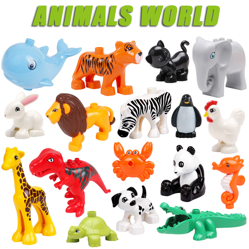 Single Sale Big Animal Zoo Original Big Building Blocks Classic Accessories Compatible Duploe Figure Bricks Toys For Children
