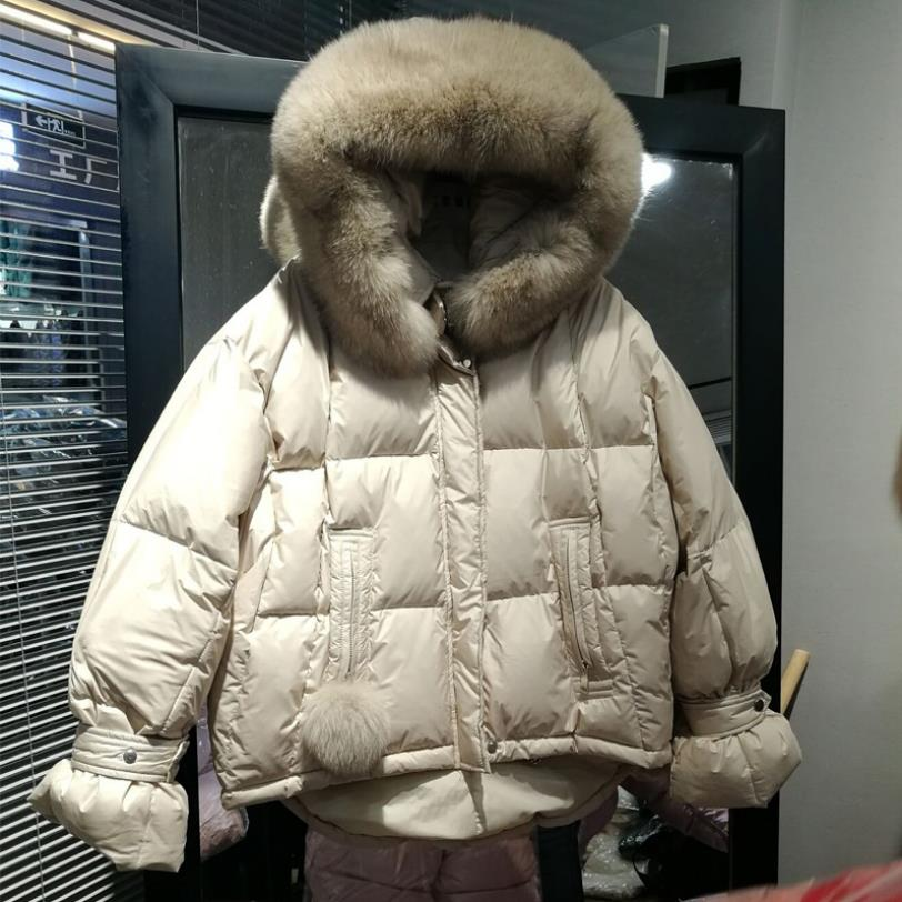 Winter Asymmetric Length bread style hooded thick warm real fox fur duck   down   parkas female oversized fluffy duck   down     coat   F295