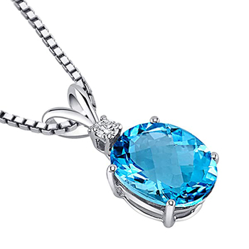 Huitan Novel Designed Women Necklace Oval Sky Blue Cubic Zirconia Unique Accessories for Party Fancy Gift Girl Statement Jewelry 1