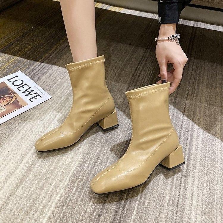 Martin Boots Women's Boots Autumn Korean Square Head Sleeve Short Boots Women's Thick Heel Medium Heel Fashion Boots