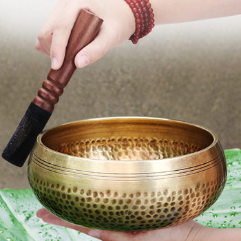 Nepal handmade Tibet Buddha sound bowl Yoga Meditation Chanting Bowl Brass Chime Handicraft music therapy Tibetan Singing Bowl 1