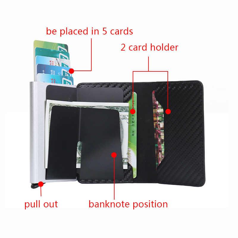 Carbon Faser Rfid Karte Geld-Clip Brieftasche Metall Dünne dünne Männliche Dollar Brieftasche Männer Tasche Bargeld Halter Geld Fall Geldbörsen billfolds