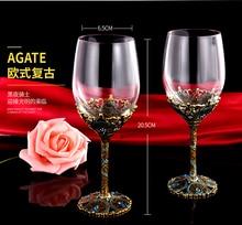 Enamel Color Vintage Crystal Creative Goblet Red Wine Cup Gift Set Wedding Cups Прозрачный Бокал Стакан