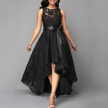 Wipalo Women Plus Size Vintage Sleeveless High Low Hem Belted Lace Party Dress High Waist Solid Maxi Dress S-5XL Ladies Vestidos 3