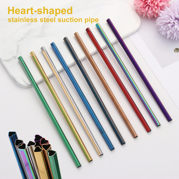 1PC Heart-shaped Drinking Straw Portable Stainless Steel Straw Reusable Eco-Friendly Metal Straws Travel Kitchen Bar Tool image