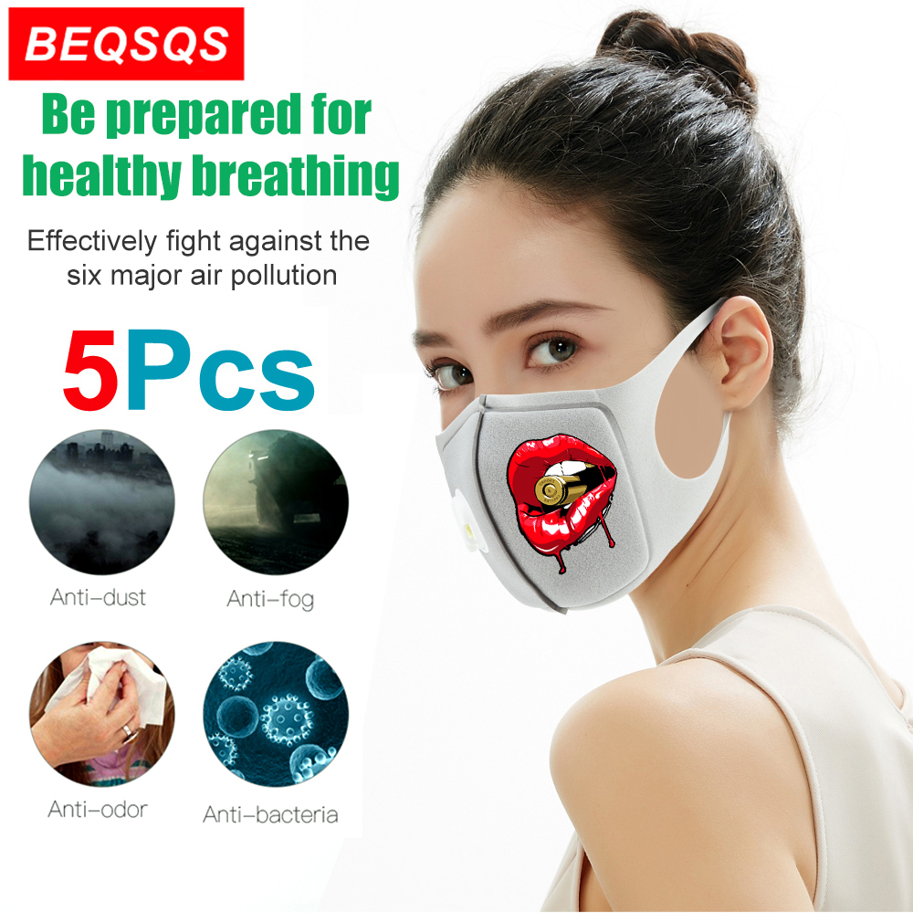 5Pcs Unisex Mouth Mask Anti Dust Pollution Face Mouth Mask, Reusable Red Lips Sponge Mouth Masks for Cycling Camping Travel