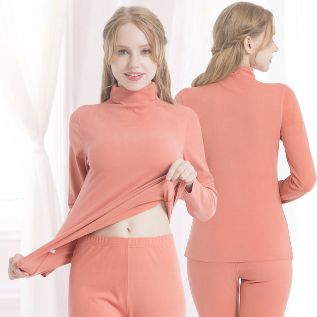 2020 double sanded napping fleece thermal underwear tops sleeves and long johns inner wear to keep warm in cold winter 2