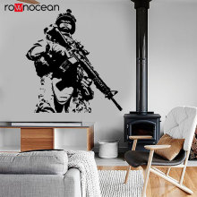 Modern War Theme US Soldier Marine Seal Military Wall Sticker Vinyl Home Decor Design Decals Murals Boys Room Wall Poster 3635