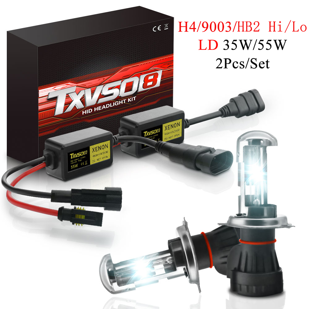 TXVSO8 <font><b>Xenon</b></font> Headlight <font><b>Kit</b></font> 2Pcs <font><b>H4</b></font> 9003 HB2 Hi Li Type 55W HID Bulbs With Ballast 3000K 4300K 5000K 6000K 8000K <font><b>10000K</b></font> 12000K image