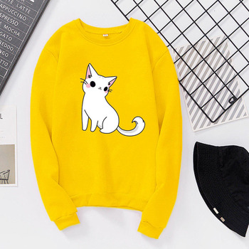 Autumn Students Sweet Cartoon Cat Velvet Round Neck Girls Sweatshirt T Shirt Women Loose Pullover Top Casual Pullover