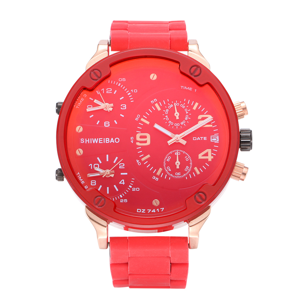 <font><b>52mm</b></font> Big Case <font><b>Watch</b></font> Men 3 Time Zones Chronograph Waterproof Sports Mens Quartz <font><b>Watches</b></font> Silicone Steel Military Relogio Masculino image