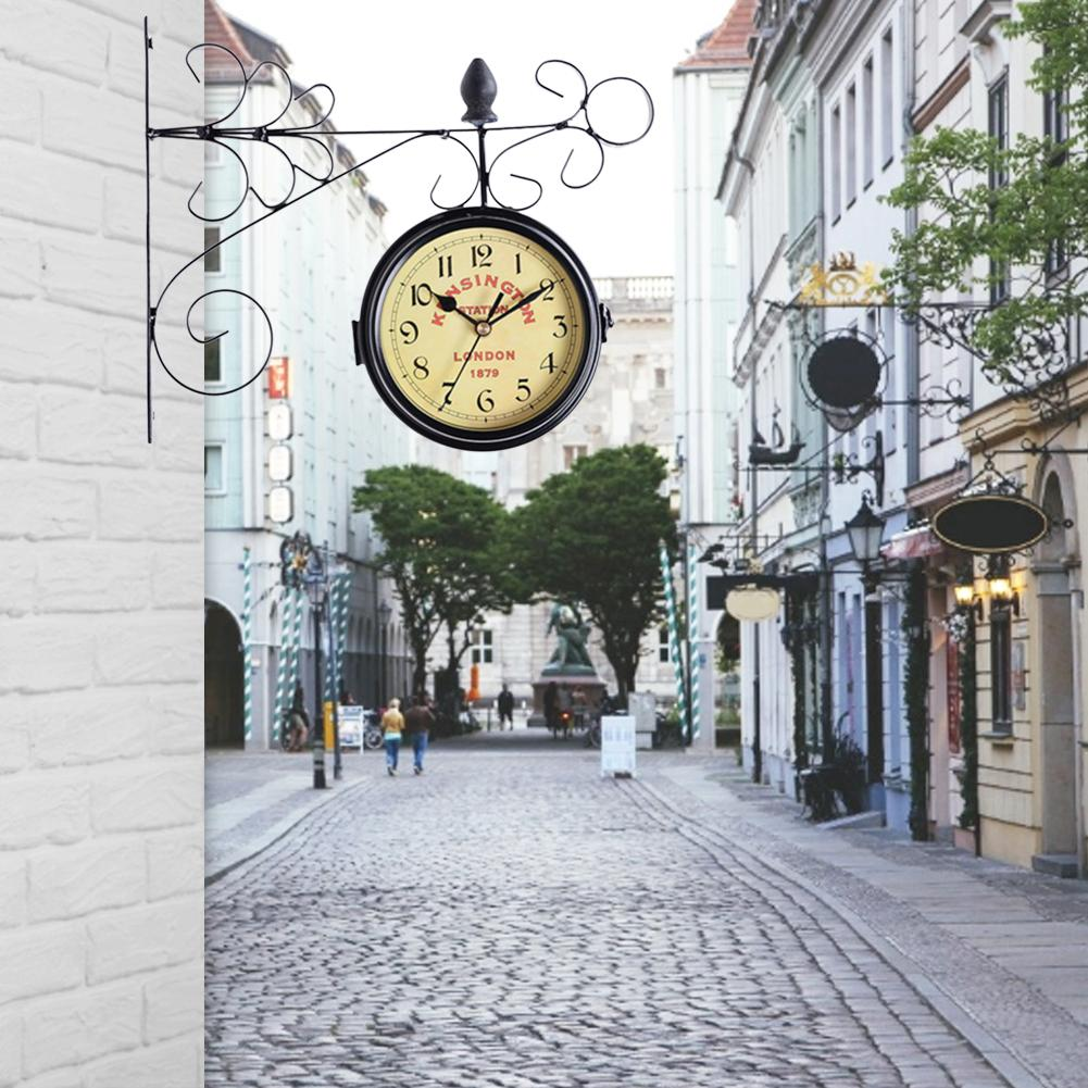 Vintage Iron Wall Clock Double Sided Hanging Clock Bracket Mounted Outdoor Wall Clock Hanging Clock Home Garden Decoration
