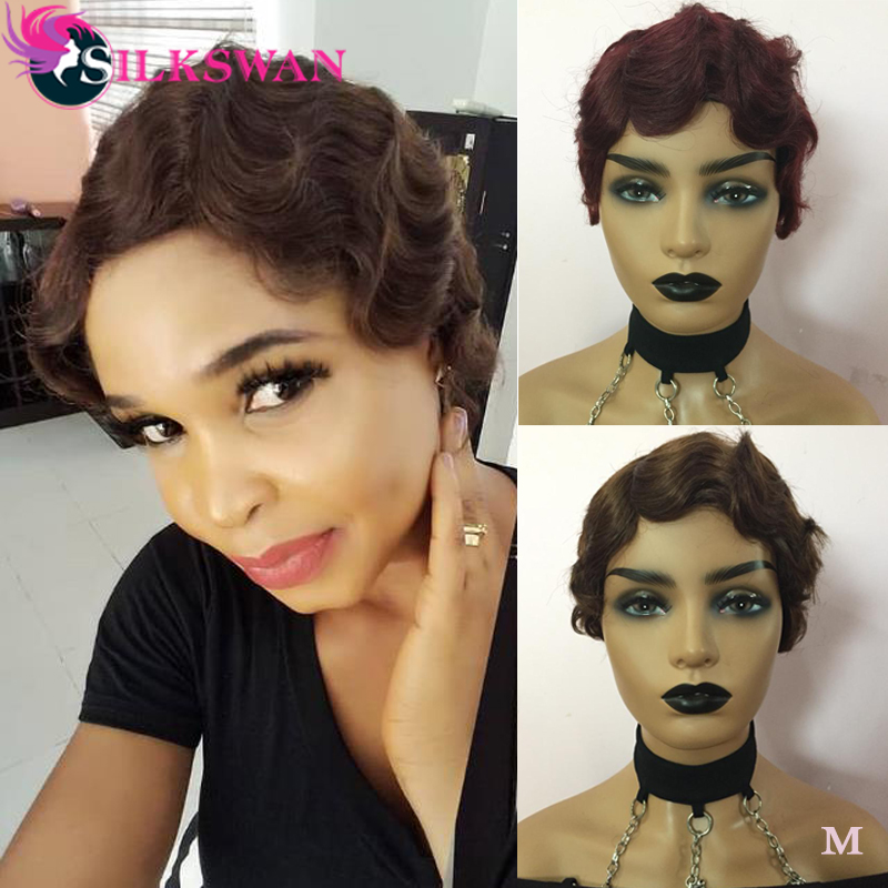 Silkswan Human Hair Full Machine Wig Short Pixie Cut Wigs For Women Wholesale Price Human Hair Wigs