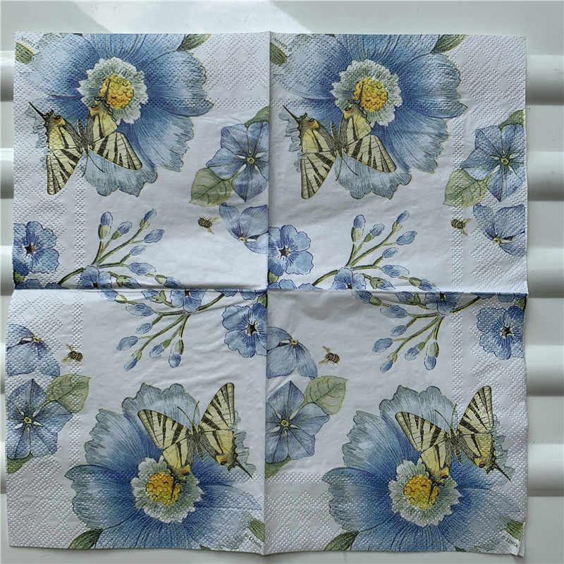 25cm papier de découpage serviette de mariage tissu élégant violet bleu fleur papillon mouchoir fête d'anniversaire belles serviettes