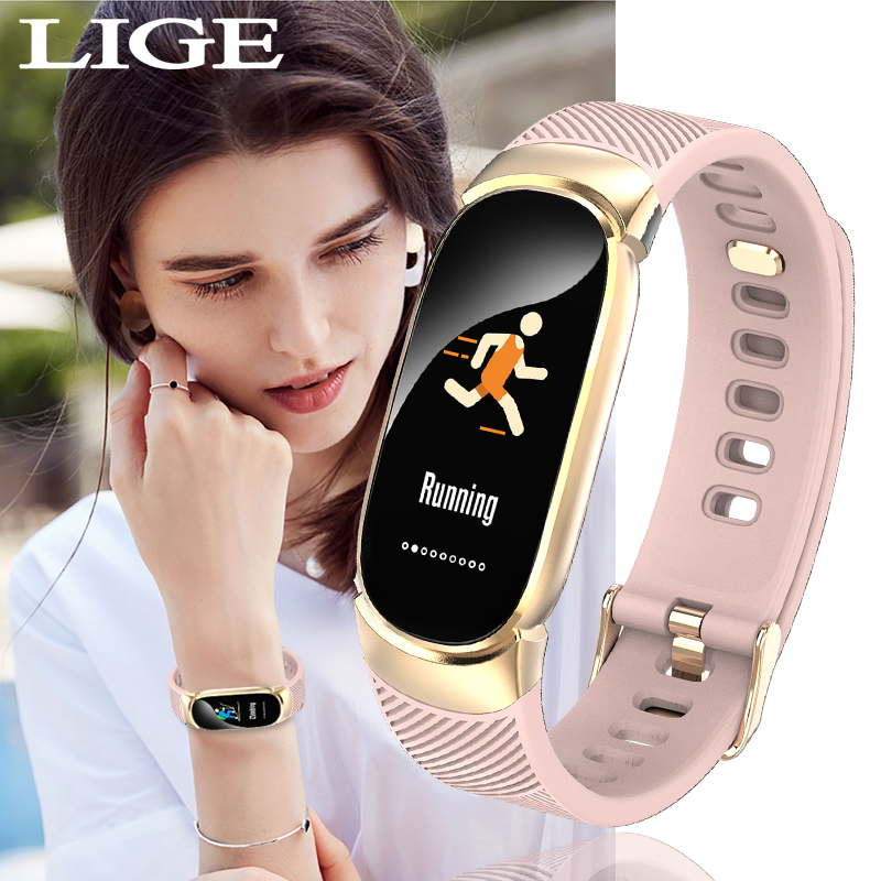 New sport waterproof smart watch ladies bracelet with Bluetooth heart rate monitor fitness tracker metal shell