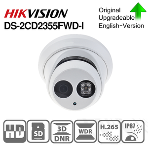 Image 1 - HIKVISION H.265 Camera DS 2CD2355FWD I 5MP IR Fixed Turret Network Camera MINI Dome IP Camera SD card slot Face Detect