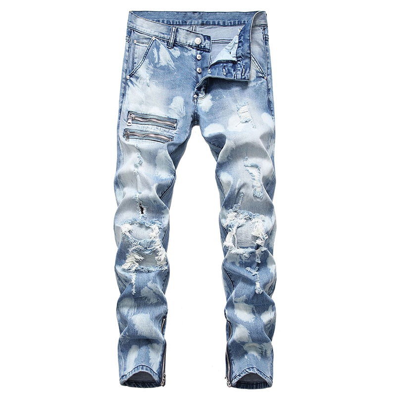 Idopy Mens Fashion Biker Jeans With Zippers Hip Hop Punk Style Painted Denim Pants Straight Fit Jean Trousers For Male