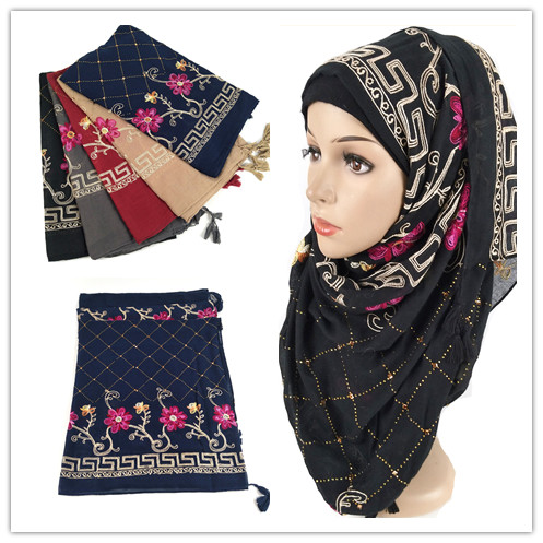 D12  10pcs High Quality Cotton Viscose Flower Embroidery Hijab Shawl Scarf Women Maxi Scarf/scarves Wrap Headband