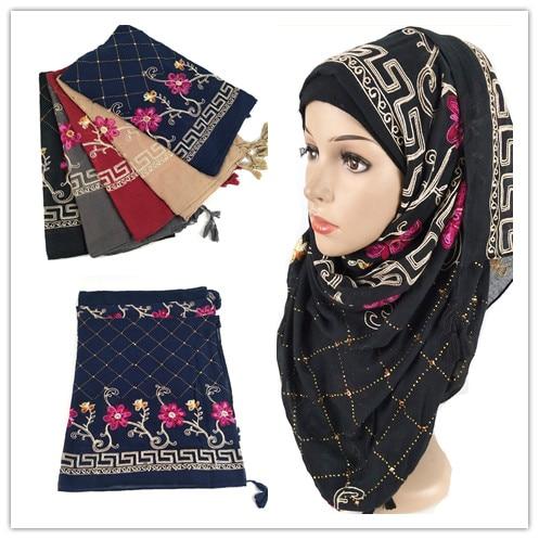 D12 10pcs High quality cotton viscose flower embroidery hijab shawl   scarf   women maxi   scarf  /  scarves     wrap   headband