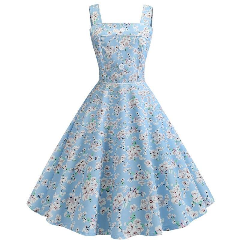 Женское винтажное платье с цветочным принтом, вечернее платье трапециевидной формы, размер 50s 60s, большие размеры, лето 2019