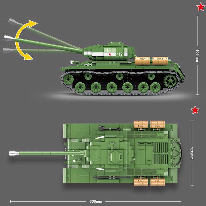 2020 جديد 1068 قطعة ستالين السوفياتي 2 متر الثقيلة دبابات اللبنات ل تكنيك سلاح عسكري WW2 دبابات سلاح الطوب اللعب