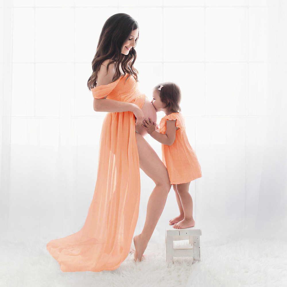 Gợi cảm Bộ Đồ Áo Cho Buổi Chụp Hình Voan Mang Thai Đầm Chụp Ảnh Chống Đỡ Đầm Maxi Áo Choàng Váy Đầm Cho Phụ Nữ Mang Thai Quần Áo D15
