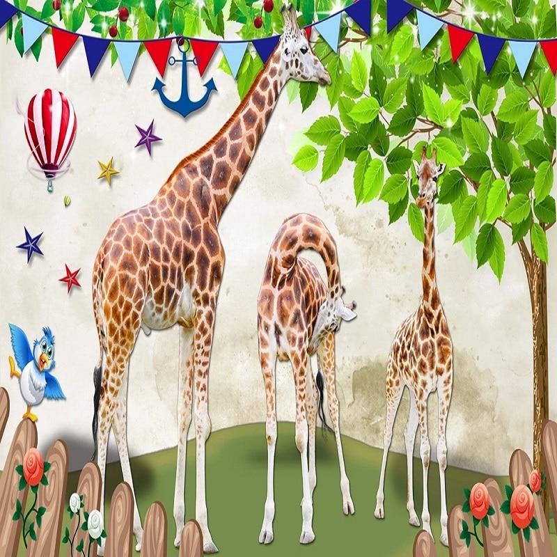 Custom Large Mural 3D Wallpaper Fairy Tale World Cartoon Animal Giraffe Tree Bedroom Mural TV Back Wall Decor Deep 5D Embossed