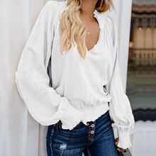 Women Shirts Fashion Casual Solid Long Sleeve Blouse V Neck Ruched Tops Office Style Blusas Summer