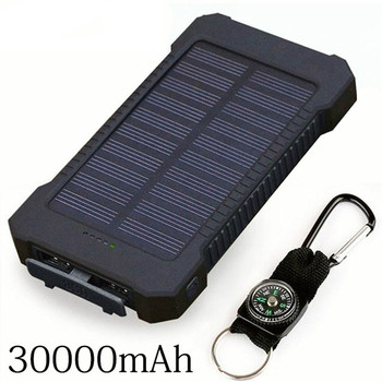 Hot Solar Power Bank 30000mAh Double USB Solar charger External Battery Portable Charger Bateria Externa Pack for smart phone 1