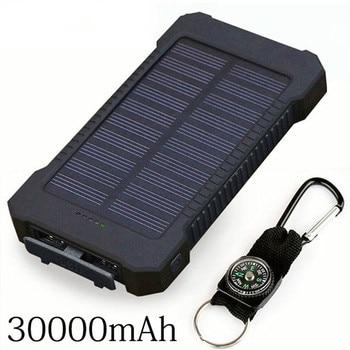 цена на Hot Solar Power Bank 30000mAh Double USB Solar charger External Battery Portable Charger Bateria Externa Pack for smart phone