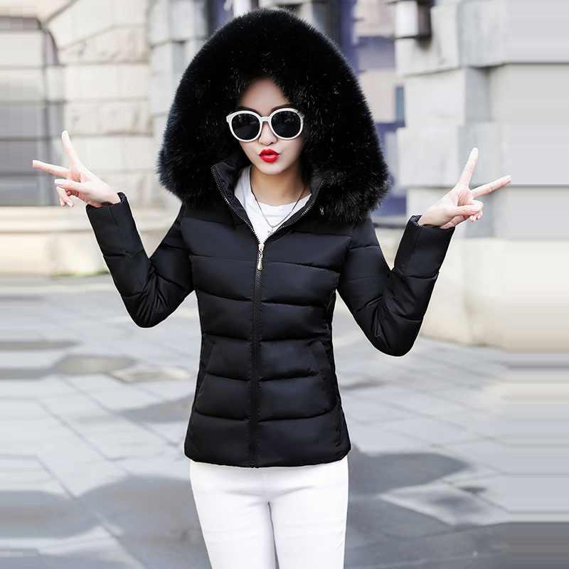 Gran piel 2019 nueva Parkas para mujer abrigo de invierno de algodón grueso chaqueta de invierno para mujer Parkas para mujer invierno abajo chaqueta