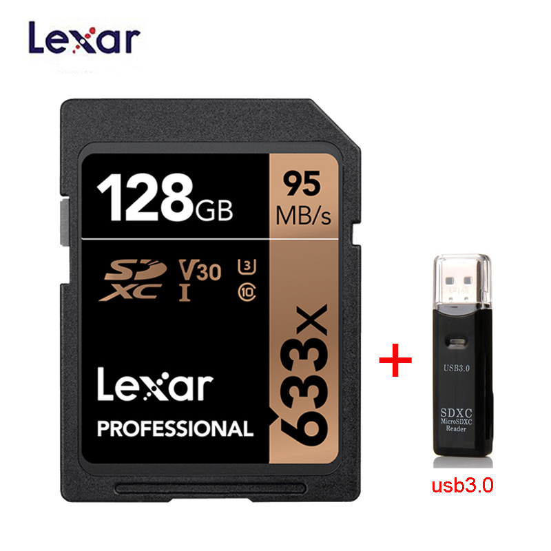 Lexar SD Card 633x Original 95M/s 32GB U1 SDHC 64GB 128GB 256GB 512G U3  SDXC Class 10 Memory Card For 1080p 3D 4K Video Camera