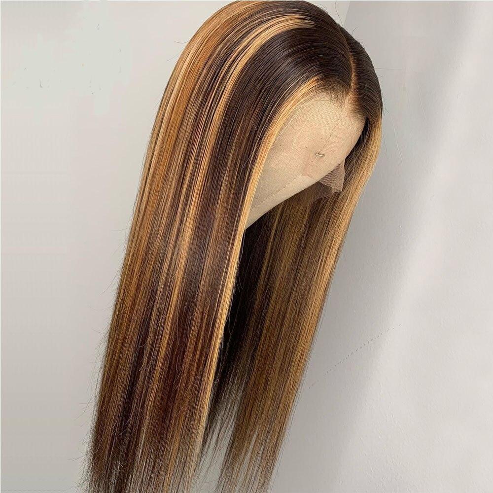 Brun miel blond couleur pleine dentelle avec faux cuir chevelu perruques Ombre mettre en évidence perruque de cheveux humains faux cuir chevelu noir dame Remy droite - 4