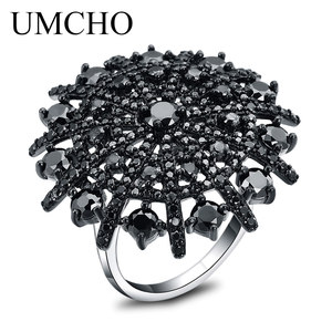 Image 4 - UMCHO Taş Doğal Siyah Spinel Yüzük Kadın Katı 925 Ayar Gümüş Yüzük Kadınlar Için Yuvarlak Düğün Nişan Takı Hediye