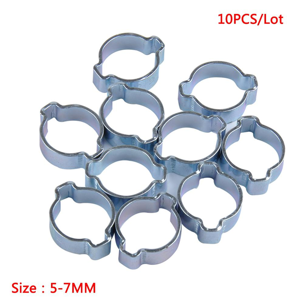 15-18mm 17-20mm 7-9mm Hose Clamps 9-11mm 13-15mm 5-7mm 11-13mm 7-9Mm 20-23mm 10pcs Stainless Steel Two-Ear Hose Clamp for Fule Petrol Pipe Tube