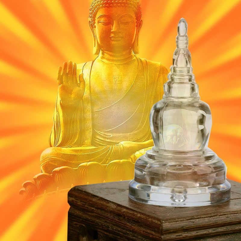 チベットタワー仏塔仏教用品ホーム装飾 Sarira 透明クリスタルパゴダ装飾装身具のギフト敬虔