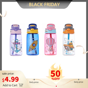 480ML Kids Water Cup Creative Cartoon Baby Feeding Cups With Straws Leakproof Water Bottles Outdoor Portable Children's Cups