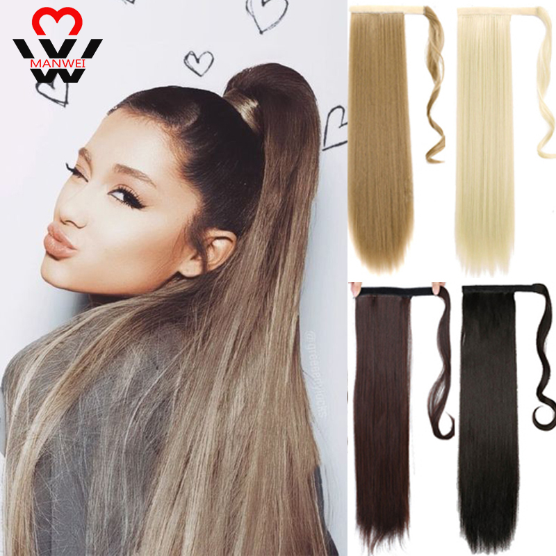 MANWEI 24 Inch HairpieceSynthetic Ponytail Hair Extension Clip In Hairpieces Natural Hair Pony Tail Grey Red Long Ponytail